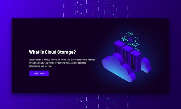 Ilustracja Izometryczna Połączenie Z Chmurą Centrum Danych Hostujące Informacje O Komputerze Serwera Premium Wektorów