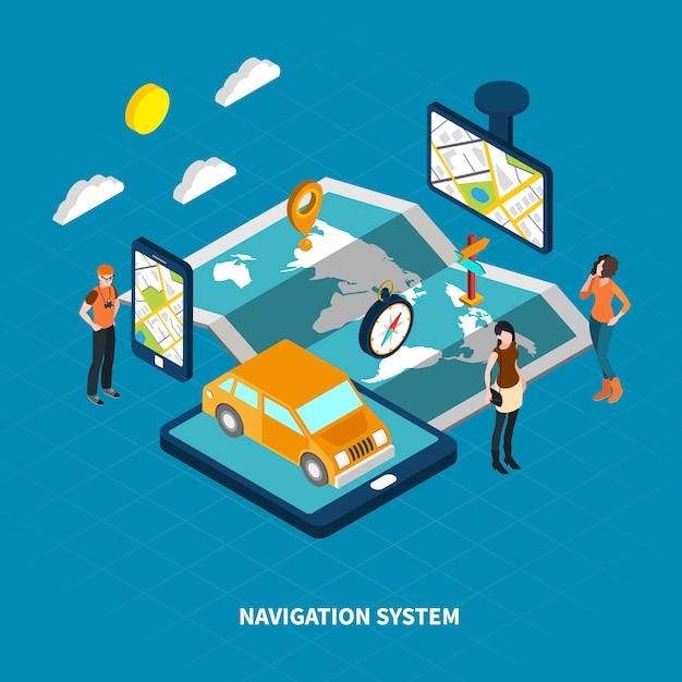 Ilustracja Izometryczna Systemu Nawigacji Darmowych Wektorów