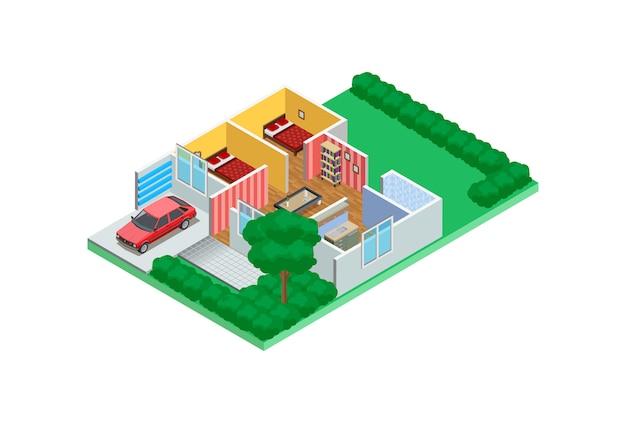 Ilustracja Izometryczne Przykłady Szkiców Projektowania Domu Premium Wektorów