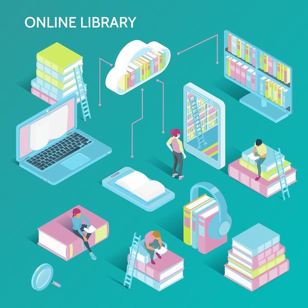 Ilustracja Izometryczny Biblioteki Online Darmowych Wektorów