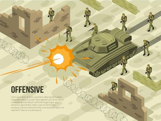 Ilustracja Izometryczny Bitwy Wojskowej Darmowych Wektorów