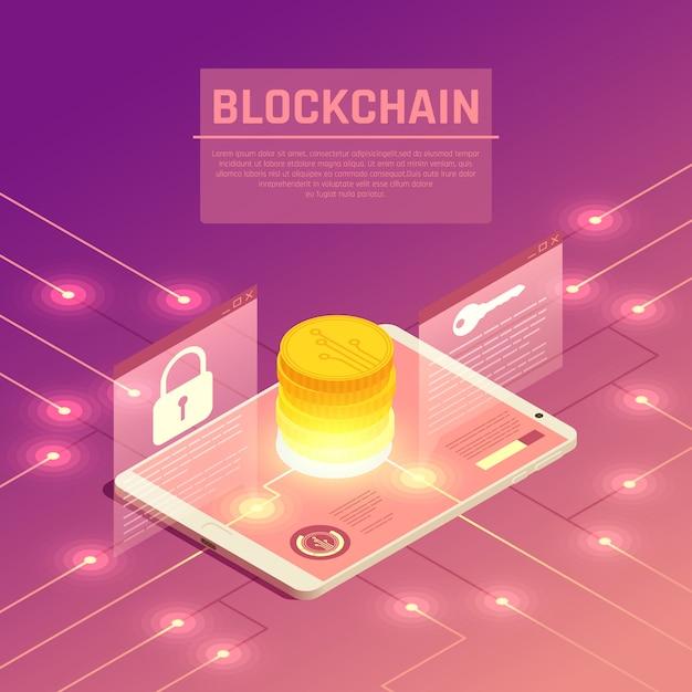 Ilustracja Izometryczny Blockchain Darmowych Wektorów