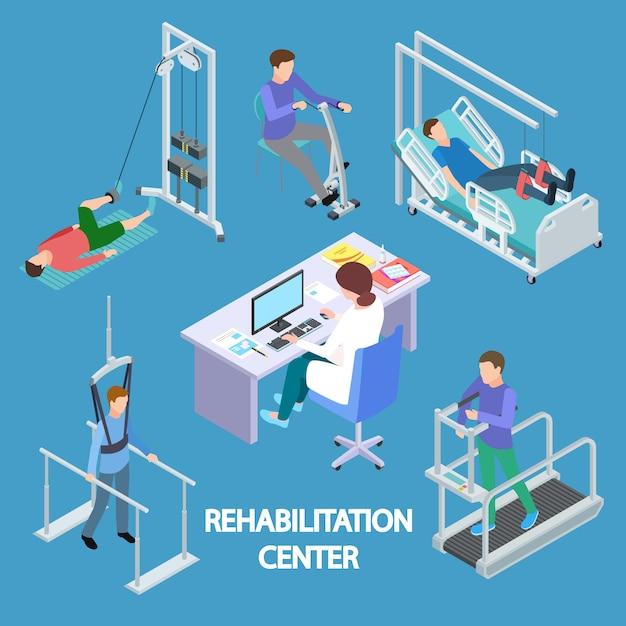 Ilustracja Izometryczny Fizjoterapeuty I Rehabilitacji Pacjentów Premium Wektorów