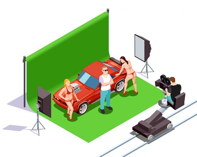 Ilustracja izometryczny kinematograf Darmowych Wektorów