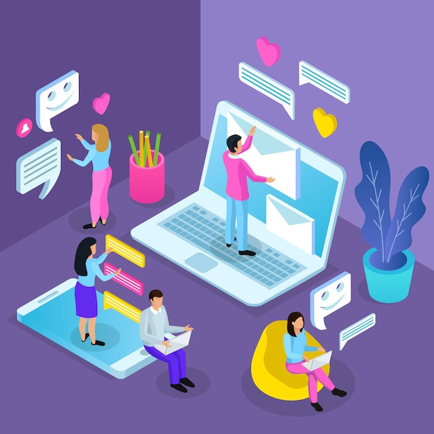 Ilustracja Izometryczny Wirtualnej Komunikacji Darmowych Wektorów