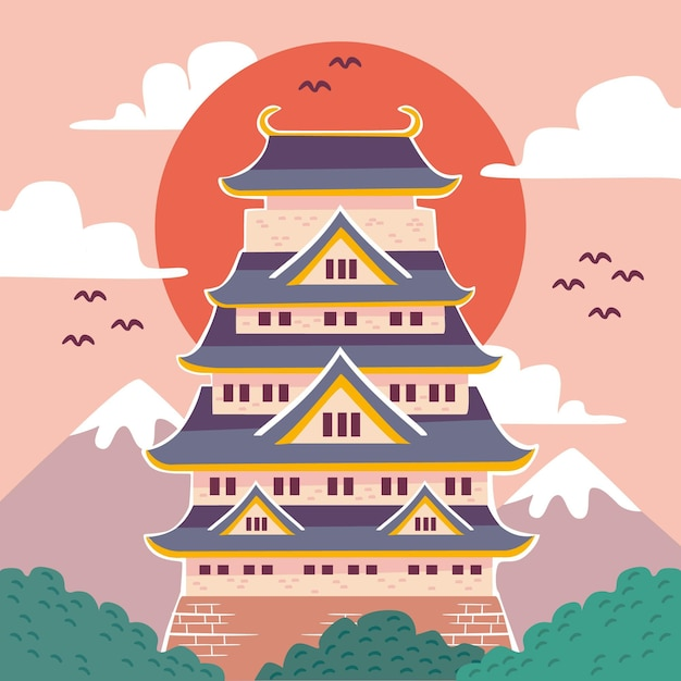 Ilustracja Japońskiego Zamku Darmowych Wektorów
