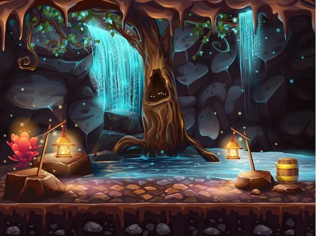 Ilustracja Jaskini Z Wodospadem I Magicznym Drzewem Oraz Beczką Złota Premium Wektorów