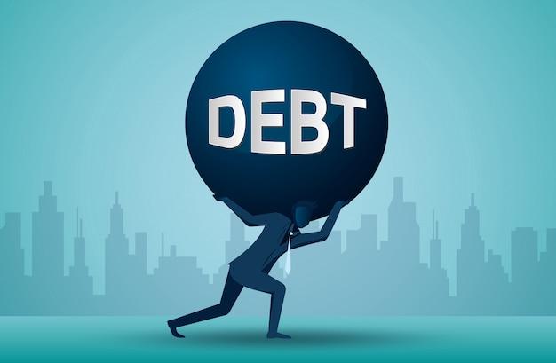 Ilustracja jednego przedsiębiorcy, który dźwiga ciężar długu Premium Wektorów