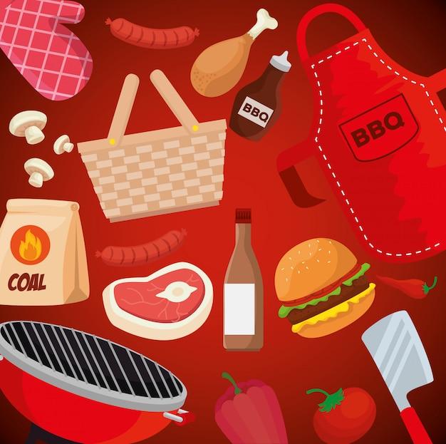 Ilustracja jedzenie i naczynia do grillowania Darmowych Wektorów