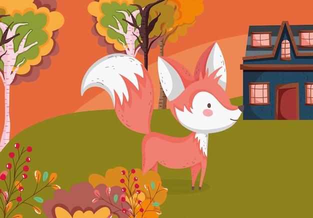 Ilustracja jesień ślicznych lisów trawy chałupy drzew Premium Wektorów