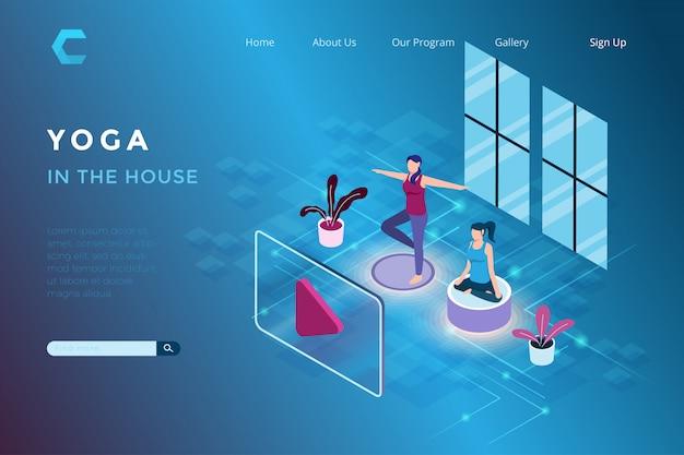 Ilustracja Joga W Domu Za Pomocą Aplikacji Streaming W Izometrycznym Stylu 3d Premium Wektorów