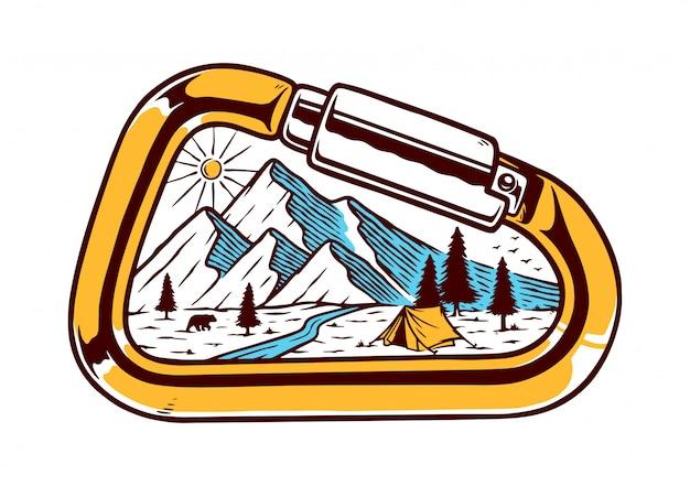 Ilustracja Karabinek I Góry Premium Wektorów