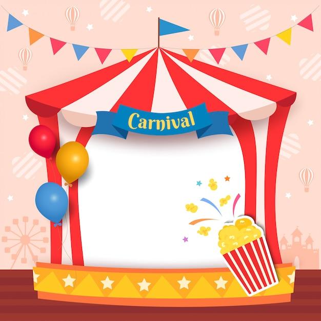 Ilustracja karnawałowa namiot rama z popkornem i balonami dla przyjęcia Premium Wektorów