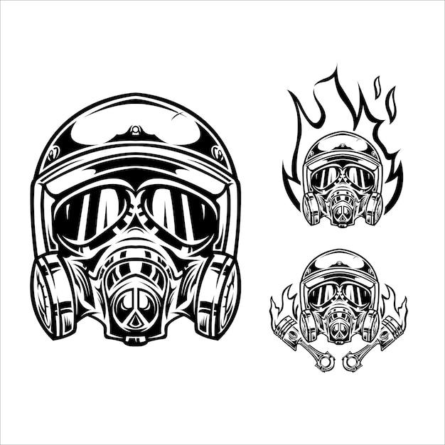 Ilustracja Kask Motocyklowy Premium Wektorów