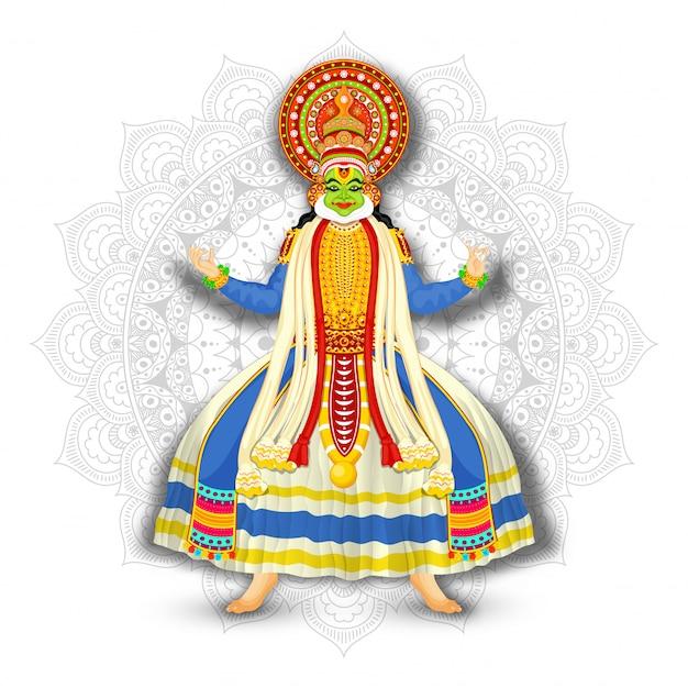 Ilustracja kathakali tancerz na białym mandala wzoru tle. Premium Wektorów
