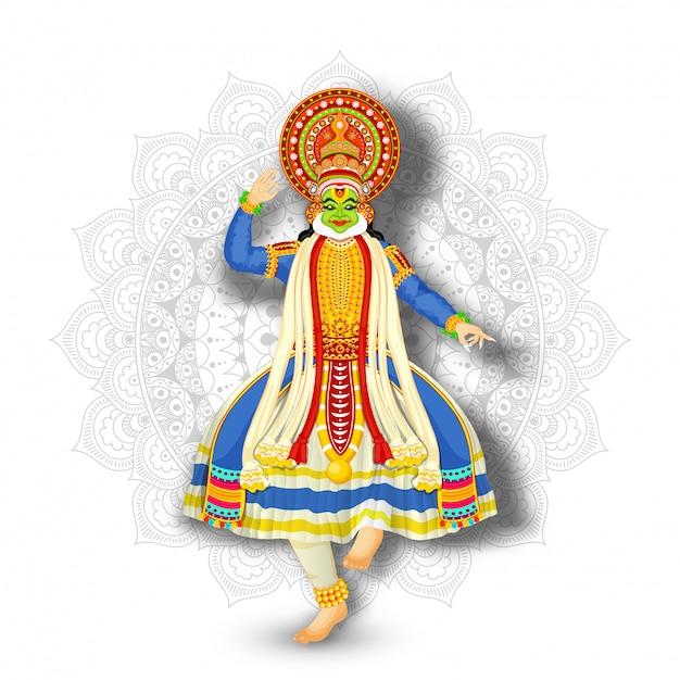 Ilustracja kathakali tancerza spełnianie na białym mandala wzoru tle. Premium Wektorów