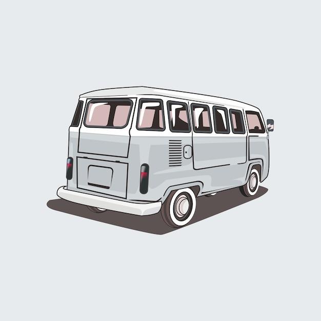 Ilustracja Klasycznego Samochodu Kempingowego Premium Wektorów
