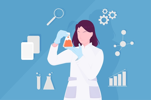 Ilustracja Kobiece Naukowiec Premium Wektorów