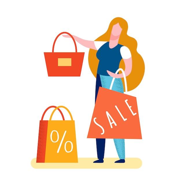 Ilustracja Kobieta Torebka Sprzedaży Premium Wektorów