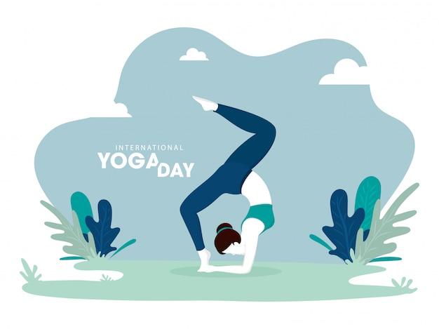 Ilustracja kobieta w joga pozie na abstrakta zieleni tle Premium Wektorów