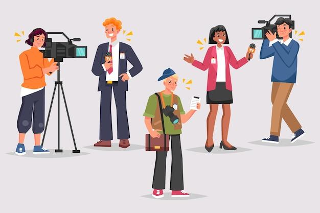 Ilustracja Kolekcji Dziennikarza Darmowych Wektorów