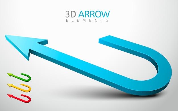 Ilustracja Kolekcji Elementu Strzałki 3d Premium Wektorów