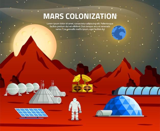 Ilustracja Kolonizacji Marsa Darmowych Wektorów