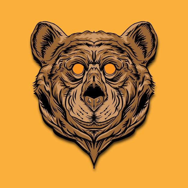 Ilustracja Kolor Głowy Niedźwiedzia Premium Wektorów