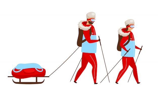 Ilustracja Kolor Zespołu Trekkingu. Backpackers Z Saniami Do Nordic Walking. Odkrywcy Pieszych Wędrówek. Grupa Wypraw Arktycznych. Kobieta I Mężczyzna Postać Z Kreskówki Na Białym Tle Premium Wektorów