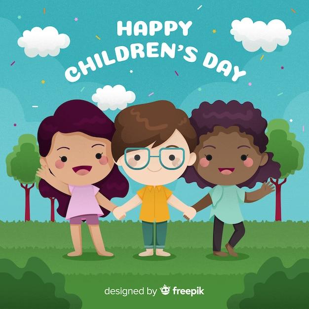 Ilustracja kolorowy dzień dziecka międzynarodowego Darmowych Wektorów