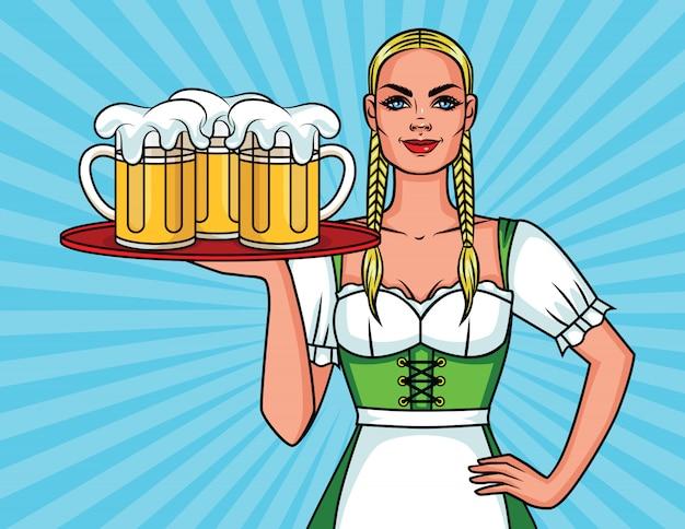 Ilustracja Kolorowy Komiks W Stylu Pop-art ładnej Kelnerki Z Kuflem Piwa Premium Wektorów