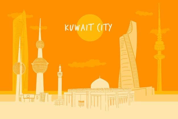 Ilustracja Kolorowy Panoramę Kuwejtu Darmowych Wektorów
