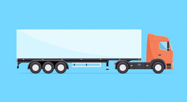 Ilustracja Kolorowy Wektor Ciężarówka. Ciężarówka Z Naczepą Na Białym Tle W Stylu Płaski Premium Wektorów