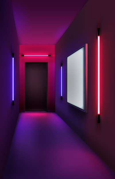 Ilustracja Kolorowych Neonów I Lightboxów We Wnętrzu Premium Wektorów