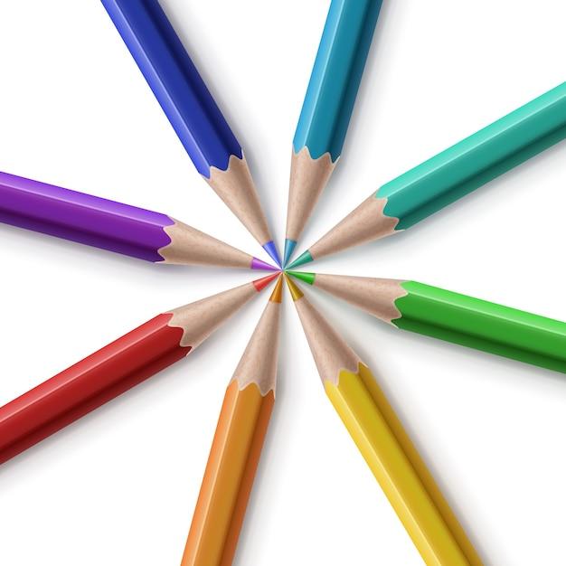 Ilustracja Kolorowych Ostrych Ołówków Ułożonych Premium Wektorów