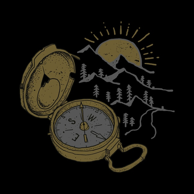 Ilustracja Kompas Przygoda Góry Premium Wektorów