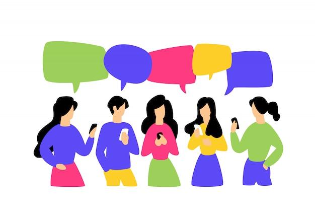 Ilustracja komunikujących się ludzi Premium Wektorów