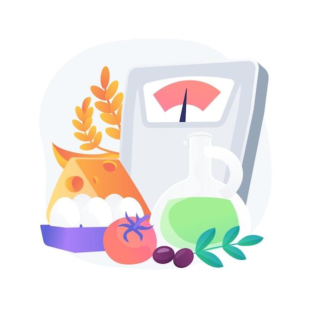 Ilustracja Koncepcja Abstrakcyjna Diety śródziemnomorskiej. Program Zdrowej Diety, Menu śródziemnomorskie, Plan Odżywiania, Kuchnia Domowa, żywność Ekologiczna, świeży Składnik, Lista Zakupów Darmowych Wektorów