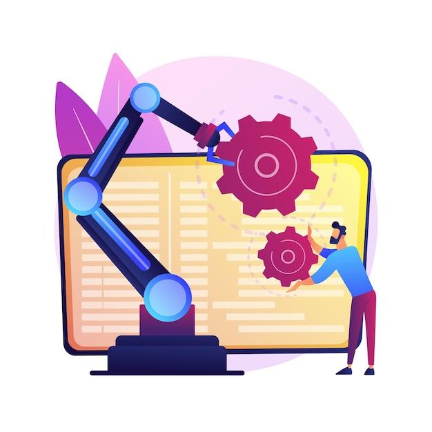 Ilustracja Koncepcja Abstrakcyjna Robotyki Współpracy. Współpracująca Sztuczna Inteligencja, Robotyka Produkcyjna, Automatyzacja Cobotów, Bezpieczne Rozwiązania Branżowe. Darmowych Wektorów
