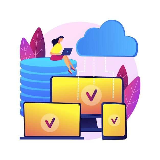 Ilustracja Koncepcja Abstrakcyjna Technologii Saas. Oprogramowanie Jako Usługa, Przetwarzanie W Chmurze, Usługa Aplikacji, Dostęp Dla Klientów, Licencjonowanie Oprogramowania, Subskrypcja, Ceny. Darmowych Wektorów
