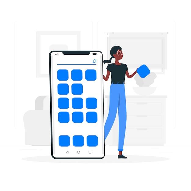 Ilustracja koncepcja aplikacji mobilnych Darmowych Wektorów