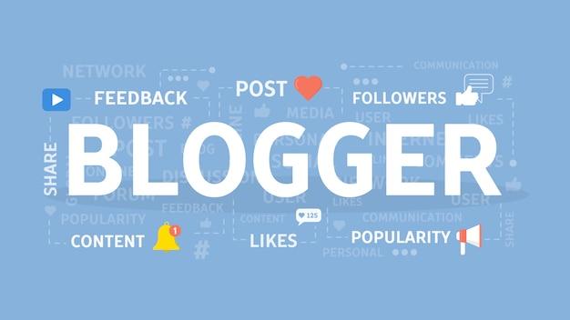 Ilustracja Koncepcja Bloggera. Idea Mediów Społecznościowych, Udostępniania I Popularności. Premium Wektorów