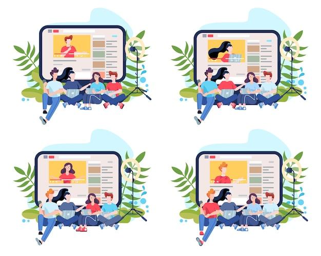 Ilustracja Koncepcja Bloggera. Udostępniaj Treści W Internecie. Idea Mediów Społecznościowych I Sieci. Komunikacja Przez Internet. Zestaw Ilustracji Premium Wektorów