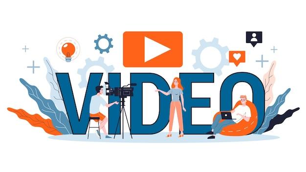 Ilustracja Koncepcja Blogowania Wideo. Udostępniaj Treści W Internecie. Idea Mediów Społecznościowych I Sieci. Komunikacja Przez Internet. Premium Wektorów