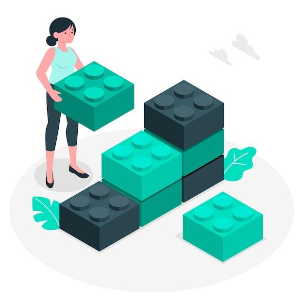 Ilustracja Koncepcja Bloki Konstrukcyjne Darmowych Wektorów