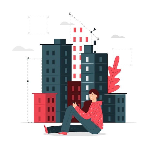 Ilustracja Koncepcja Budynku Darmowych Wektorów