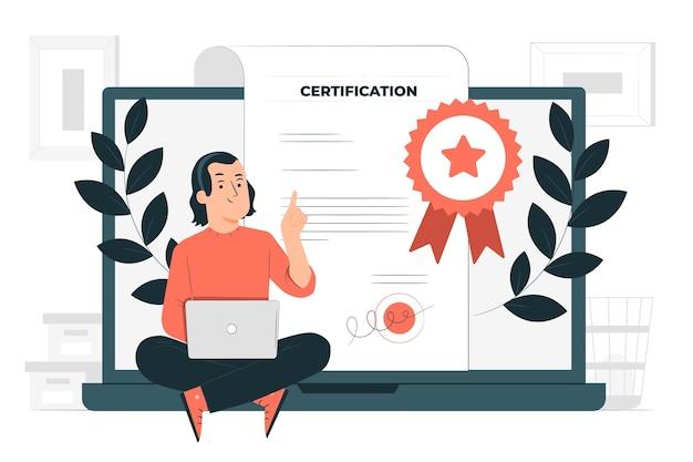 Ilustracja Koncepcja Certyfikacji Darmowych Wektorów