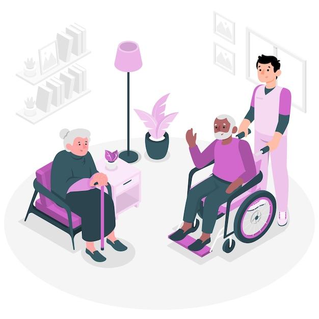 Ilustracja Koncepcja Domu Opieki Darmowych Wektorów