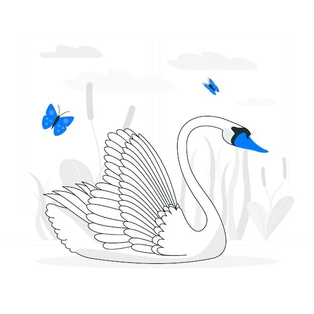 Ilustracja Koncepcja Elegancki łabędź Darmowych Wektorów