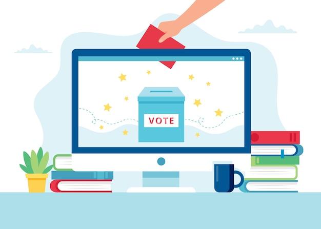 Ilustracja Koncepcja Głosowania Online Premium Wektorów